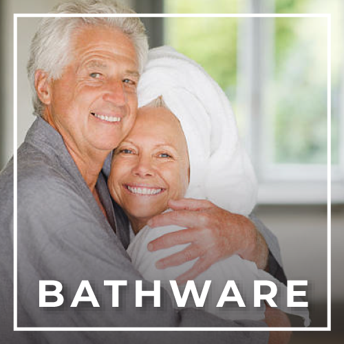 Elderly couple in robes for bathware safety at Rice Village Medical Supply in Houston, TX