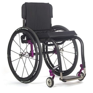 Wheelchair purple used for comfort at Rice Village Medical Supply