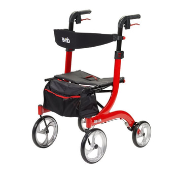 Rollator walker red at Rice Village Medical Supply
