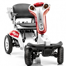 Red scooter used for mobility at Rice Village Medical Supply in Houston, Texas