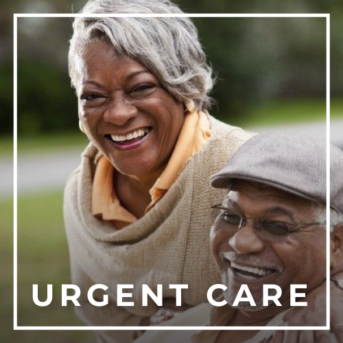 Black elderly couple for urgent care at Rice Village Medical Supply in Houston, TX